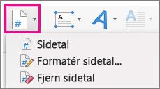 Klik på Sidetal under fanen Indsæt.