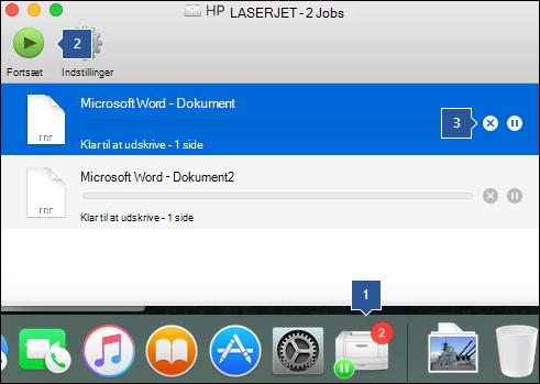 Udskrive køen viser den aktuelle status for en printer og en hvilken som helst vente udskriftsjob