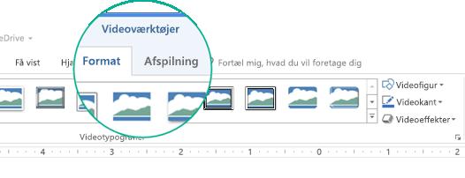 """Når en video er markeret på en slide, vises sektionen """"Videoværktøjer"""" på værktøjslinjen på båndet, og den har to faner: Formatér og Afspil."""