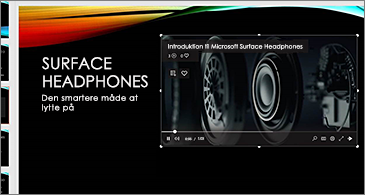 Slide, der indeholder en onlinevideo