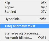 Genvejsmenu, når du føjer alternativ tekst til et billede i Outlook.