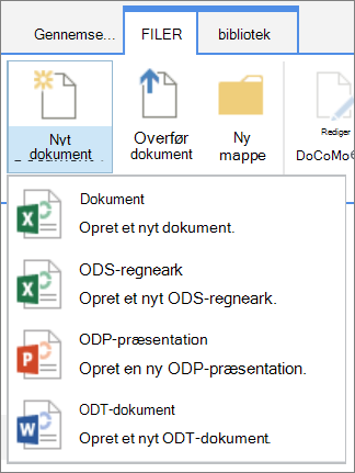 Kommandoen Nyt dokument i et bibliotek med brugerdefinerede skabeloner