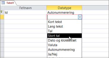 Liste over datatyper med Stort tal fremhævet