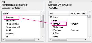 Tilknytning af en kolonne fra Excel til et Outlook-kontaktfelt