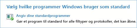 Skærmbillede af angiv dine standardprogrammer