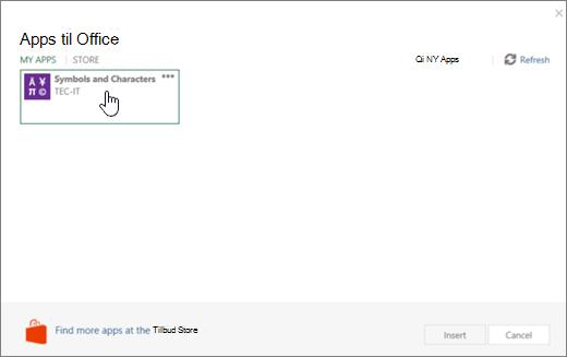 Skærmbillede viser fanen Mine Apps på siden Apps til Office.