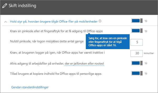 Sørg for, at Kræv en pinkode eller fingeraftryk for at få adgang til Office-apps er slået til.