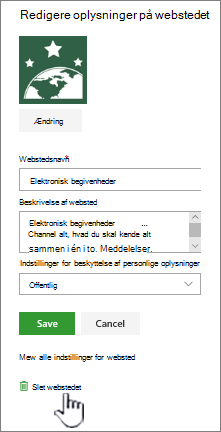SharePoint-teamwebsted slette webstedsplacering