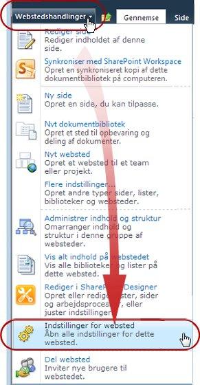 Kommandoen Indstillinger for websted i menuen Webstedshandlinger