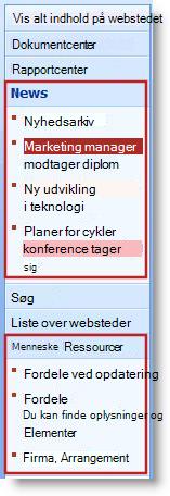 Underordnede websteder og sider vises under overskrifter i Hurtig start.