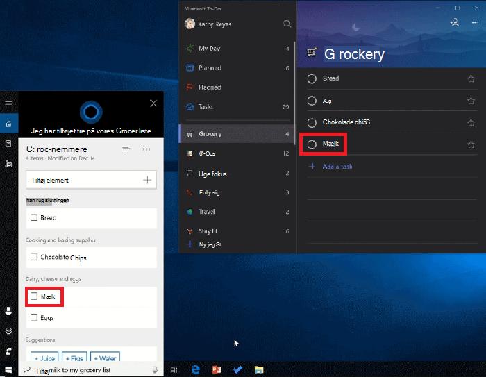 Skærmbillede, der viser både Cortana og Microsoft to-do åben i Windows 10. Mælk er blevet føjet til din liste over personer, der bruger Cortana, og er også tilgængelig på indkøbs listen i Microsoft to-do