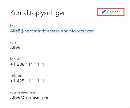 Bruge kontaktoplysningerne til at opdatere administratoroplysningerne