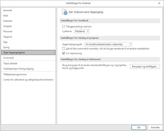 Øget tilgængelighed for handicappede i indstillinger i Outlook.