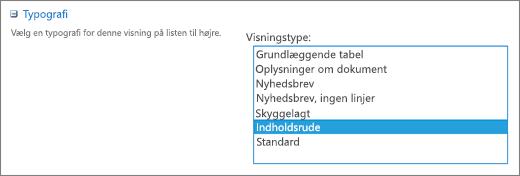 Typografivalg på siden med indstillinger for visning