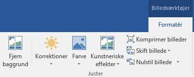 Knappen Fjern baggrund, vises på fanen Formatér under Billedværktøjer på båndet i Office 2016