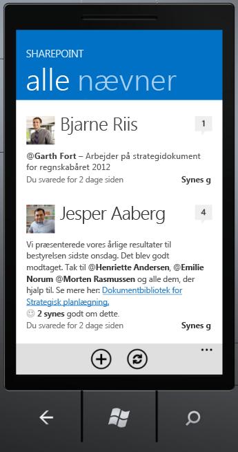 Skærmbilledet af alle i SharePoint Newsfeed-app'en