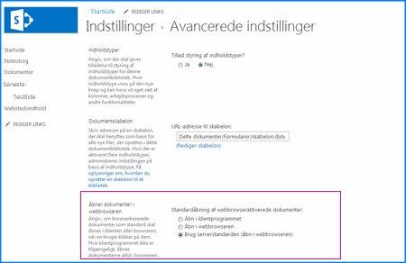 Skærmbillede af siden Avancerede indstillinger for et dokumentbibliotek i SharePoint