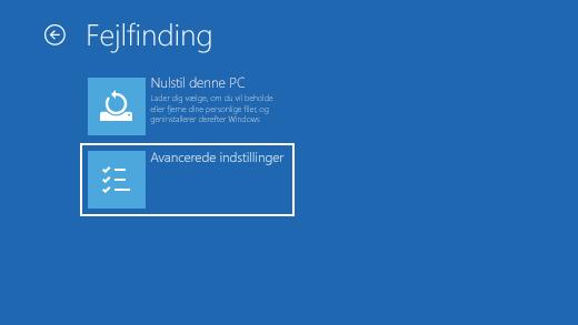 Fejlfindingsskærm i Windows Genoprettelsesmiljø.