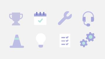 Symboler for indstillinger, bedste fremgangsmåder og support.