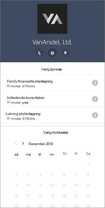 Et eksempel på en bookings formular til en økonomisk servicevirksomhed