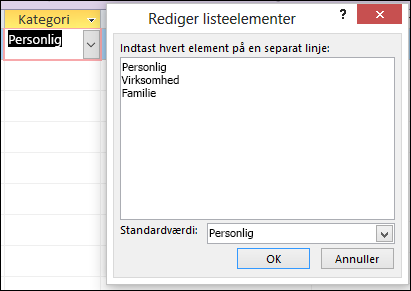 Dialogboksen Rediger listeelementer i en Access-formular
