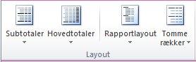 Billede af Excel-båndet