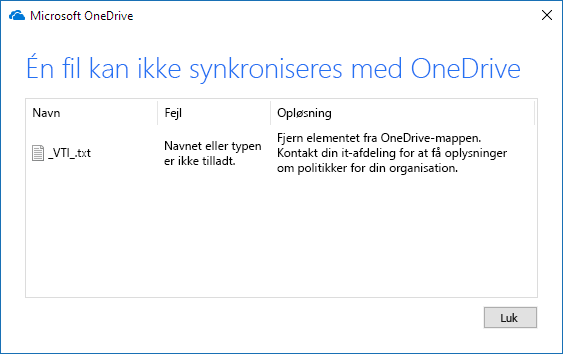 OneDrive-fil kan ikke synkroniseres