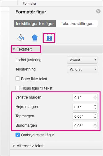 Indstillinger for tekstfelt er fremhævet i ruden Formatér figur.