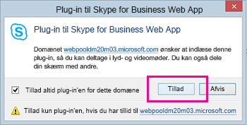 Hav tillid til plug-in-domænet til Skype for Business Web App