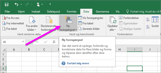 Ny forespørgsel i Excel 2016