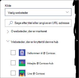 Vælg websteder