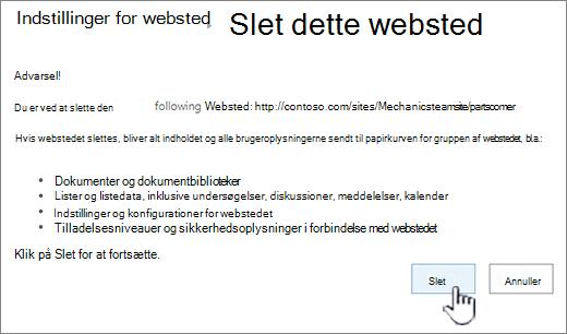Klik på Slet, hvis du er sikker på, at du vil slette det underordnede websted