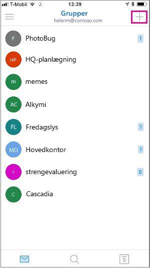 Tryk på plustegnet i øverste højre hjørne af skærmen for at oprette en gruppe