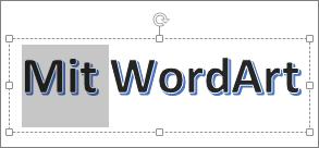 WordArt med delvis markeret tekst