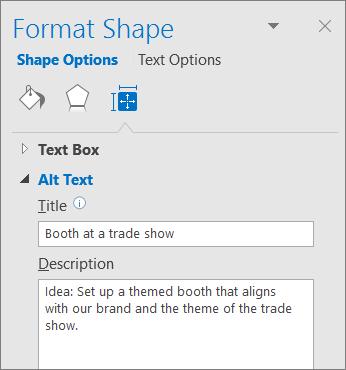 Skærmbillede af området Alternativ tekst i ruden Formater figur, der beskriver den valgte figur