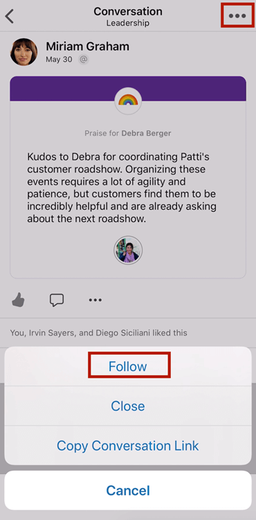 Skærmbillede, der viser, hvordan du følger en samtale i et nyt Yammer i mobilappen