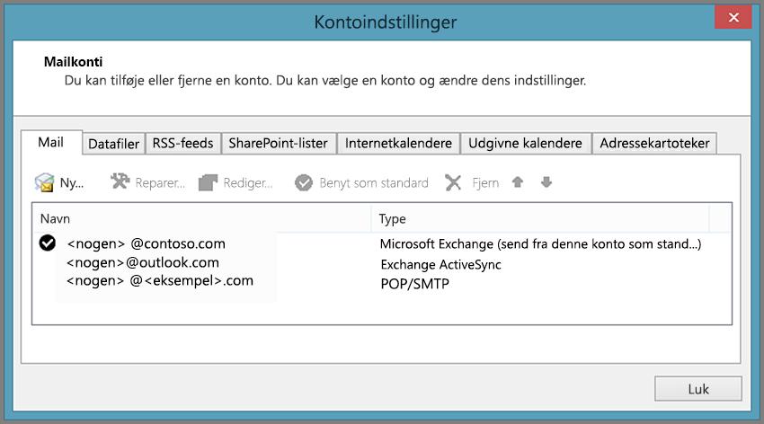 Se hvilken kontotype du har, i vinduet Kontoindstillinger i Outlook