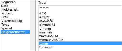 Dialogboksen Formater celler, brugerdefineret kommando, t: mm type