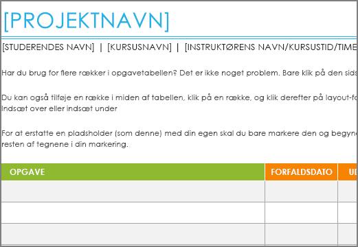 Gammel udgave af skabelonen Liste med projektopgaver med en minimumsskrifttype på 8,5 punkter.