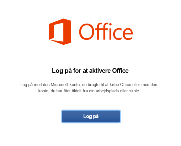 Klik på Log på for at aktivere Office til Mac