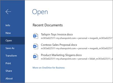 Åbne et dokument i Word