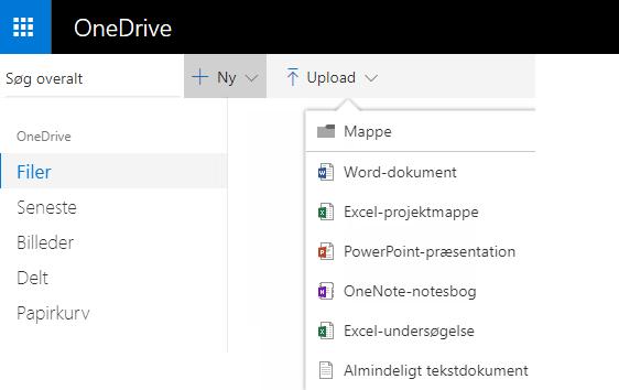 Skærmbillede af oprettelse af et dokument fra OneDrive.com