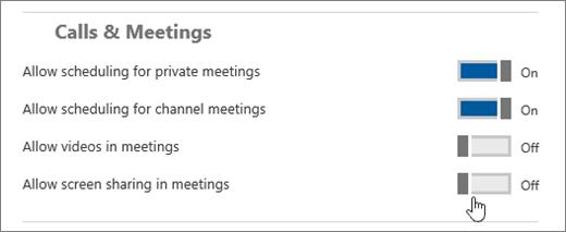 Skærmbillede af indstillingssiden for Microsoft Teams under Opkald og møder, hvor du kan slå indstillinger til eller fra for at hindre eller tillade planlægning af private møder og kanalmøder samt videoer og skærmdeling under møder.