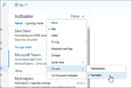 Skærmbillede af Indbakke, hvor Filter > Vis som > Samtaler er markeret.