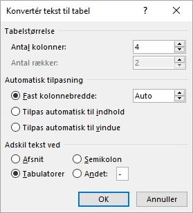Dialogboksen Konvertér tekst til tabel vises.
