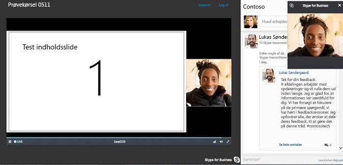 Skype-mødeudsendelse med Yammer-integration