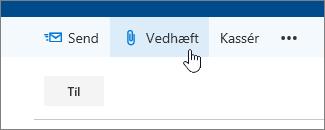 Et skærmbillede af knappen Vedhæft.