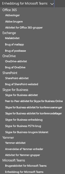 Vælg en rapport – brugeraktivitet i Microsoft Teams