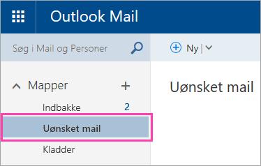 Et skærmbillede af mappen Uønsket mail