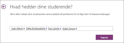 Tilføj de studerendes navne i OneNote-klassenotesbogen.